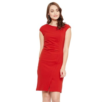 Madame Women Party Wear Red Bodycon Dress