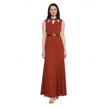 Madame Women Party Wear Brown Maxi Dress