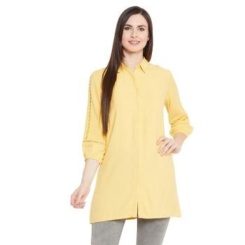 Madame Women Casual Wear Yellow Shirt