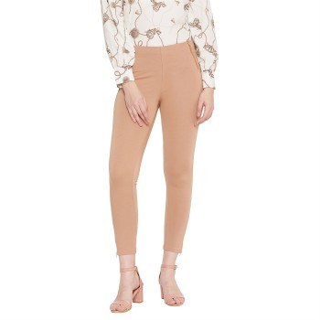 Madame Women Casual Wear Beige Jeggings