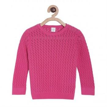 Miniklub Girls Pink Self Design Sweater