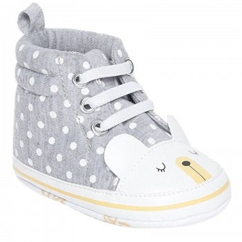 Miniklub Boys Grey Polka Print Softsole Shoes