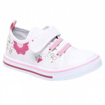 Miniklub Girls Floral Print White Pair of Hard Sole Shoes