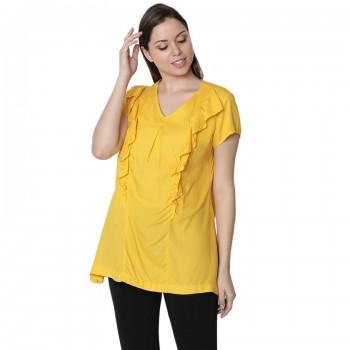 Miniklub Women Solid Golden Nursing Top