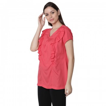 Miniklub Women Solid Red Nursing Top