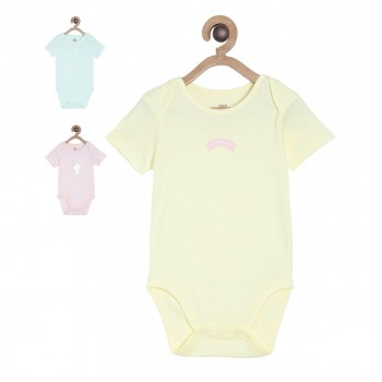 Miniklub Girls Multicolor Solid Pack of 3 Bodysuits