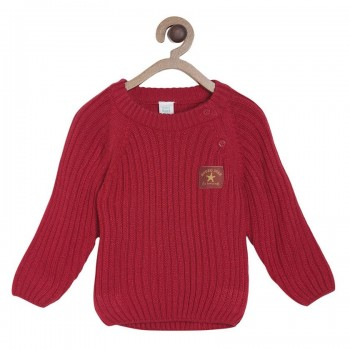 Miniklub Boys Red Self Design Sweater