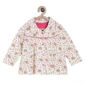 Miniklub Girls Off White Floral Print Jacket