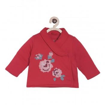 Miniklub Girls Red Embroidered Jacket