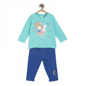 Miniklub Girls Printed Blue Pack of Top & Pyjama