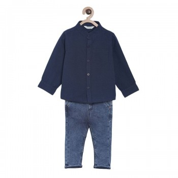 Miniklub Boys Multicolor Solid Pack of a Shirt & a Trouser