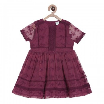 Miniklub Girls Red Embroidered Dress