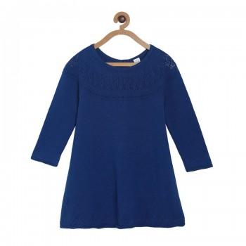 Miniklub Girls Blue Solid Sweater