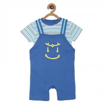 Miniklub Boys Blue Striped T Shirt and Dungaree Set