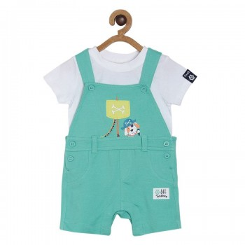Miniklub Boys Green Solid Pack of a Shirt & a Dungaree