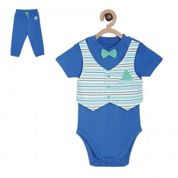 Miniklub Boys Blue Striped Pack of 1 Bodysuit & 1 Pyjama