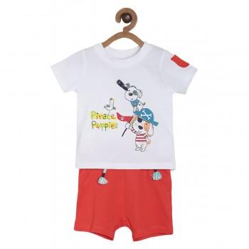 Miniklub Boys Multicolor Printed Pack of a T Shirt & a Shorts