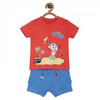 Miniklub Boys Multicolor Printed T Shirt and Shorts Set