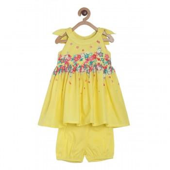 Miniklub Girls Yellow Printed Pack of a Dress, a Bloomer & a hairband