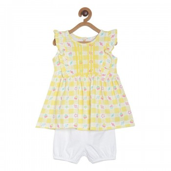 Miniklub Girls Multicolor Printed Pack of a Dress, a Bloomer & a hairband