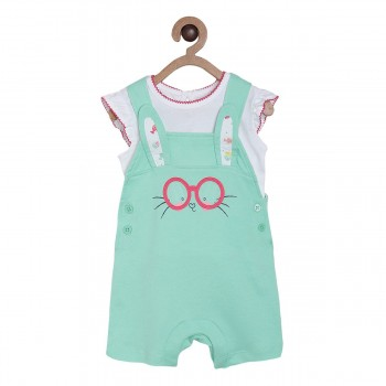 Miniklub Girls Multicolor Solid Pack of a Top & a Dungaree