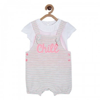 Miniklub Girls Multicolor Striped Top and Dungaree Set