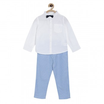Miniklub Boys Multicolor Striped pack of a Shirt, a Trouser & a Bow