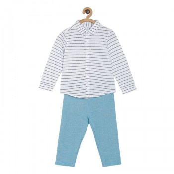 Miniklub Boys Blue Striped Pack of a Shirt & a Bottom