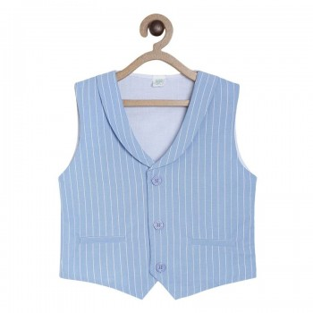 Miniklub Boys Blue Striped Waistcoat and Bow Set