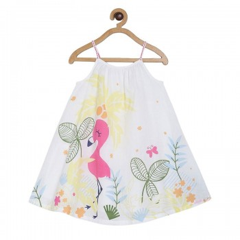 Miniklub Girls White Printed Dress