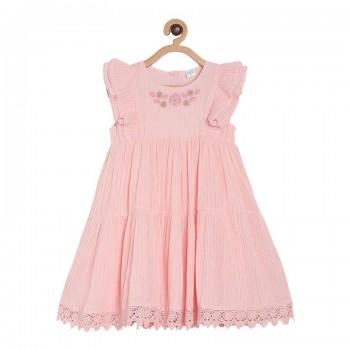 Miniklub Girls Peach Textured Dress