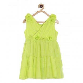 Miniklub Girls Green Solid Dress