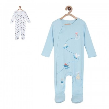 Miniklub Boys Multicolor Printed Pack of 2 Sleepsuits