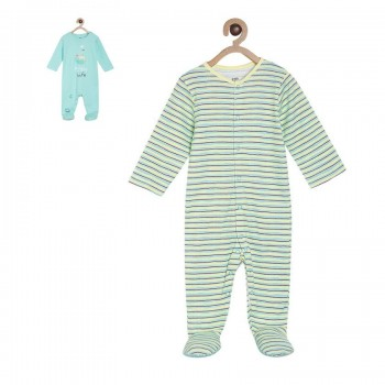 Miniklub Boys Multicolor Striped Pack of 2 Sleepsuits