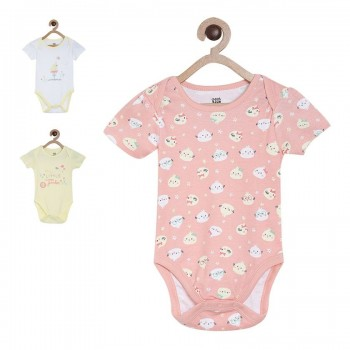 Miniklub Girls Multicolor Printed Pack of 3 Bodysuits