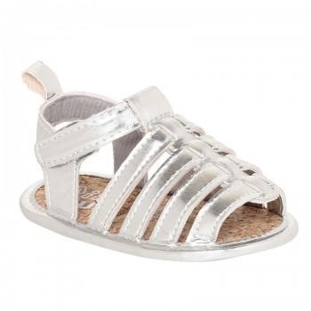 Miniklub Girls Silver Solid Softsole Sandals