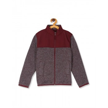 The Children's Place Boys Red Marled Sweater Trail Jacket