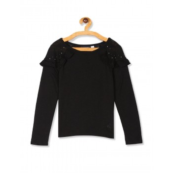The Children's Place Girls Black  Studded Ruffled Knit Sweater
