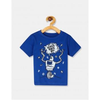 The Children's Place Toddler Boy Blue Crew Neck Robot Graphic T-Shirt