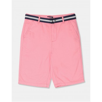 The Children's Place Boys Pink Belted Flat Front Chino Shorts