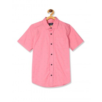 The Children's Place Boys Pink Short Sleeve Printed Shirt