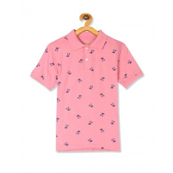 The Children's Place Boys Pink Short Sleeve Palm Print Polo