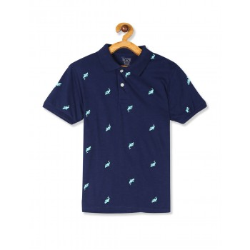 The Children's Place Boys Blue Short Sleeve Printed Jersey Polo