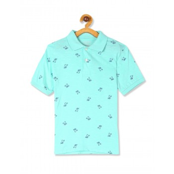 The Children's Place Boys Green Short Sleeve Palm Print Polo