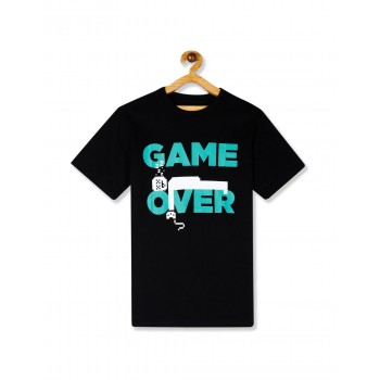 The Children's Place Boys Black Crew Neck Game Over Graphic T-Shirt