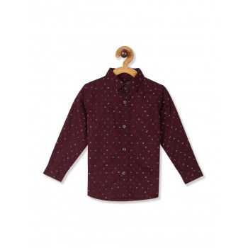 The Children's Place Baby And Toddler Boy Red Long Sleeve Dot Print Poplin Button Down Shirt