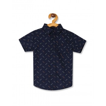 The Children's Place Baby And Toddler Boy Blue Short Sleeve Arrow Print Poplin Button Down Shirt