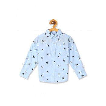 The Children's Place Baby And Toddler Boy Blue Long Sleeve Dog Print Poplin Button Down Shirt
