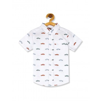 The Children's Place Toddler Boy White Short Sleeve Car Print Poplin Button Down Shirt