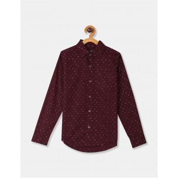 The Children's Place Boys Red Long Sleeve Print Poplin Button Down Shirt
